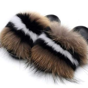 Real Fox Fur Slides Sandals for Women (6.5-11)